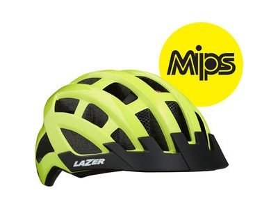 LAZER Compact DLX MIPS Helmet, Flash Yellow, Uni-Adult