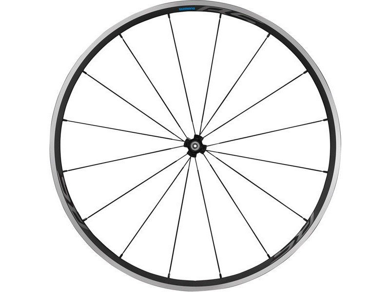 SHIMANO WH-RS300 clincher wheel, 100 mm Q/R axle, front, black click to zoom image