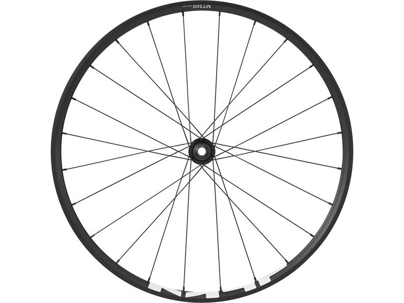 SHIMANO WH-MT500 MTB wheel, 27.5 in (650b), 15 x 100mm thru-axle, front, black click to zoom image