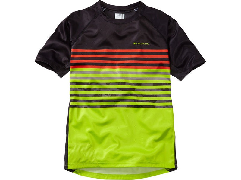 MADISON Zen youth short sleeve jersey, black / krypton lime click to zoom image
