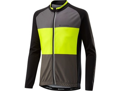 MADISON Sportive youth long sleeved thermal jersey, black/hi-viz yellow
