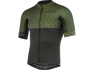 MADISON RoadRace Apex men's short sleeve jersey, black/dark olive hex dots