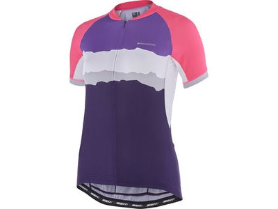 MADISON Keirin women's short sleeve jersey, pink glo/purple velvet torn stripes