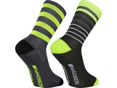 MADISON Sportive long sock twin pack, multi hoop black/hi-viz yellow click to zoom image